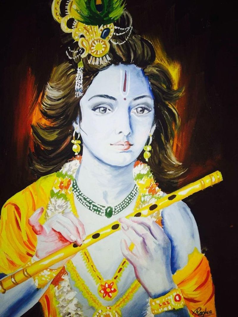 Time lapse poster colour painting of Lord Shri Krishna  by