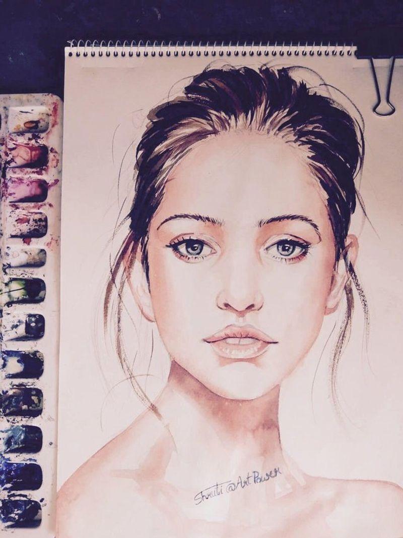 Watercolour portrait of a beautiful lady, Final part.