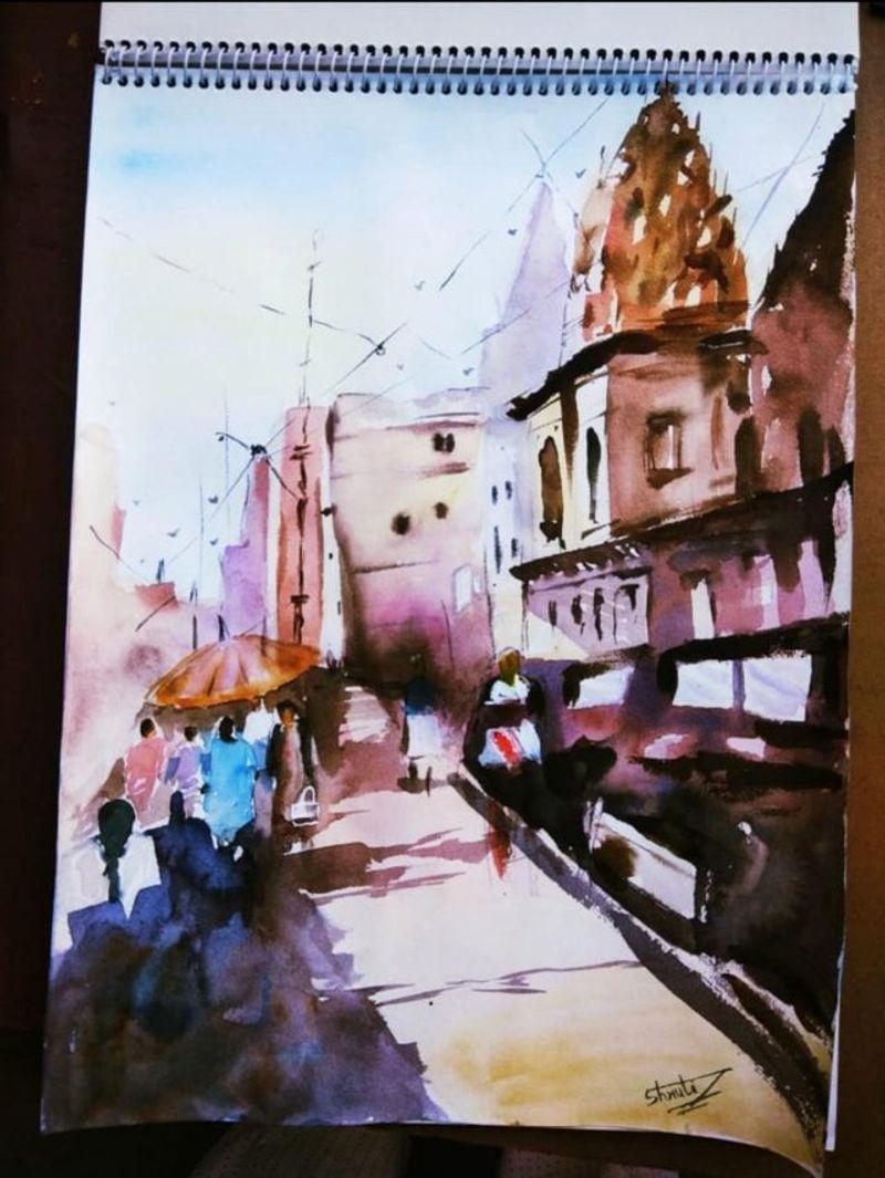 Watercolour painting of Varanasi Ghat.