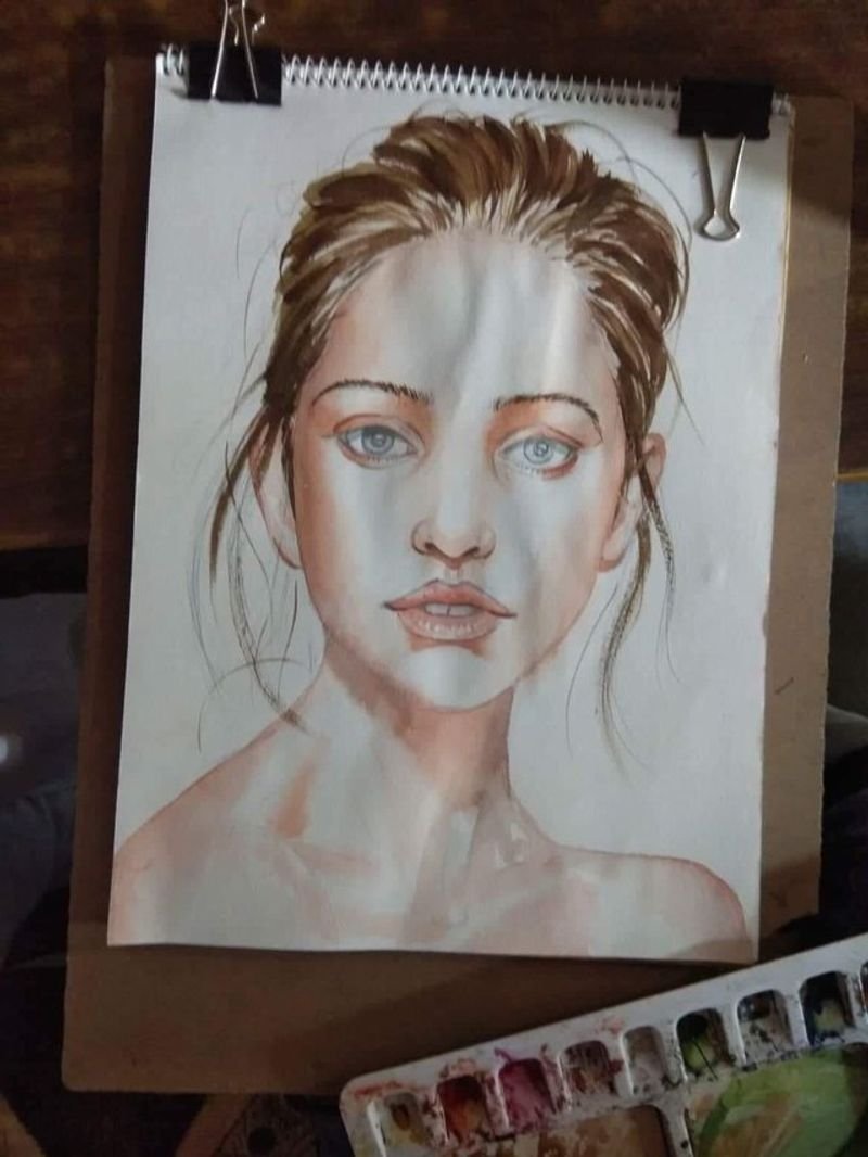 Watercolour portrait of a beautiful lady.