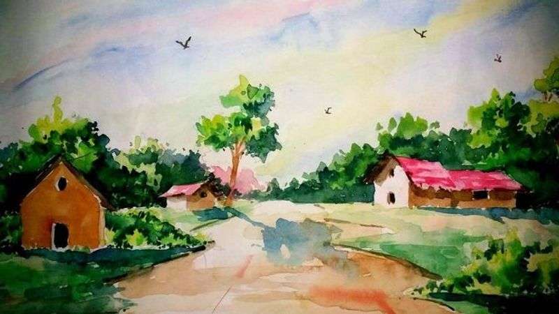Beautiful landscape painting with watercolour.